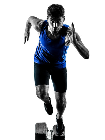 Photo for one caucasian runner sprinter running sprinting athletics man silhouette isolated on white background - Royalty Free Image
