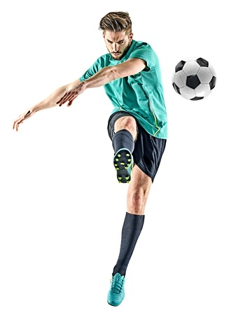 Photo pour one caucasian soccer player man isolated on white background - image libre de droit