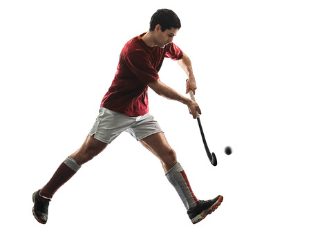 Photo pour one caucasian field hockey player man isolated silhouette on white background - image libre de droit