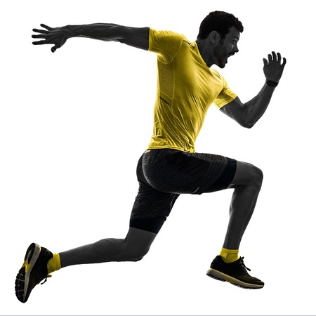 Photo pour one caucasian man runner running jogging jogger silhouette isolated on white background - image libre de droit