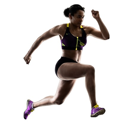 Photo for one african runner running sprinter sprinting woman isolated on white background silhouette - Royalty Free Image