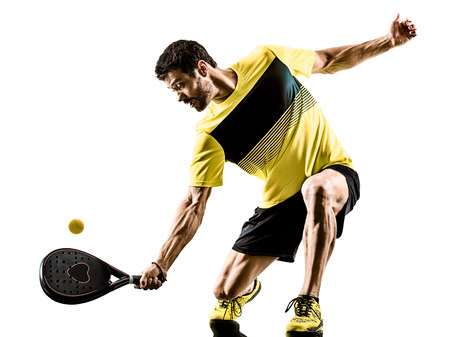 Photo for one caucasian man playing Padel tennis player isolated on white background - Royalty Free Image