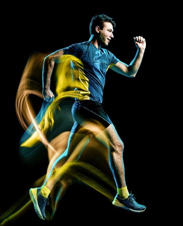Photo pour one caucasian runner running jogger jogging man light painting speed effect  isolated on black background - image libre de droit