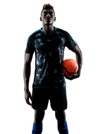 Photo pour one african soccer player man playing in studio isolated on white background - image libre de droit