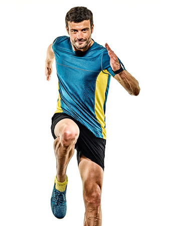 Photo for one caucasian handsome mature man running runner jogging jogger isolated on white background - Royalty Free Image
