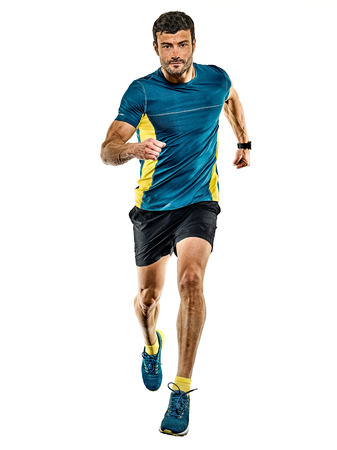 Photo pour one caucasian handsome mature man running runner jogging jogger isolated on white background - image libre de droit