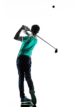 Photo for one young caucasian Man Golf golfer golfingshadow silhouette  isolated  on white background - Royalty Free Image