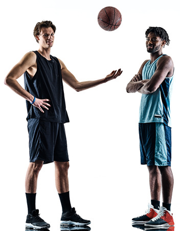 Photo for two basketball players men isolated in silhouette shadow on white background - Royalty Free Image