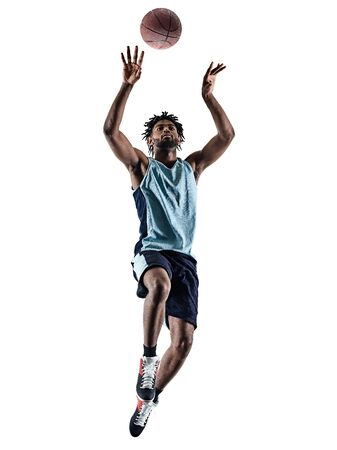 Photo for one afro-american african basketball player man isolated in silhouette shadow on white background - Royalty Free Image