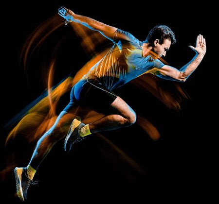 Photo for one caucasian runner running jogger jogging man light painting speed effect isolated on black background - Royalty Free Image