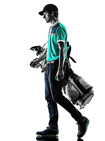 Photo for one young caucasian Man Golf golfer golfing shadow silhouette isolated on white background - Royalty Free Image