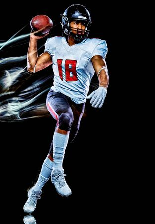Photo for one african american football player man studio shot isolated on black background with light painting with blurred motion speed effect - Royalty Free Image