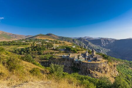 Photo pour Tatev monastery panorama landscape mountains landmark of Syunik province Armenia eastern Europe - image libre de droit