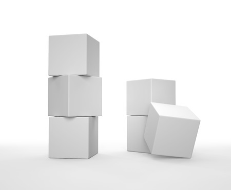 Photo for Stack of white cubes on white background. 3D render. - Royalty Free Image