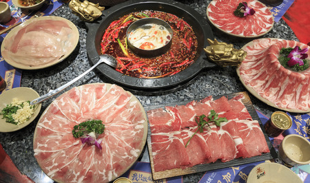 Photo for Chengdu, China - December 10, 2018: Close up of Sichuan hot pot in Chengdu - Royalty Free Image