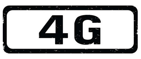 4G text, on black border rectangle vintage textured stamp sign with round corners.