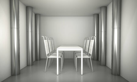 Luxury. Clean diner room, chairs and white table over clean space. silver columns.