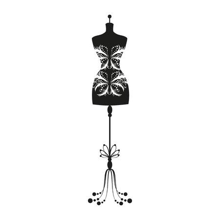 Illustration pour vintage tailor's mannequin for female body - image libre de droit