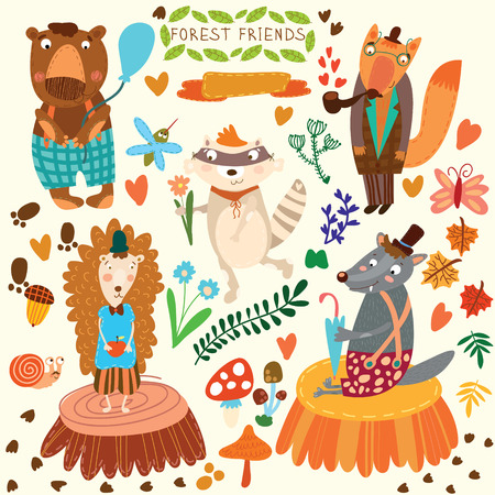 Vector Set of Cute Woodland and Forest Animals. Bear, hedgehog, fox, wolf, raccoon,mosquito, snail, butterfly.(All objects are isolated groups so you can move and separate them)