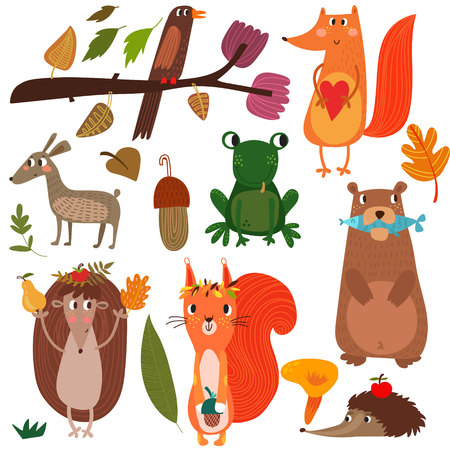 Vector Set of Cute Woodland and Forest Animals. Fox, squirrel, hedgehog, bear, frog.(All objects are isolated groups so you can move and separate them)-stock vector