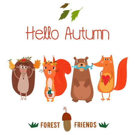 Vector autumn card with wreath from leaves and acorns. Vintage autumn card with cute  hedgehog,squirrel,bear,fox and text Hello autumn. -stock vector