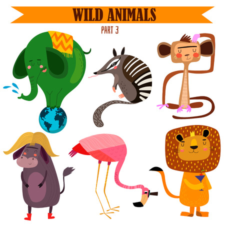 Vector set-Wild animals in cartoon style.