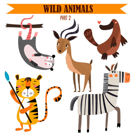 Photo pour set-Wild animals in cartoon style. - image libre de droit