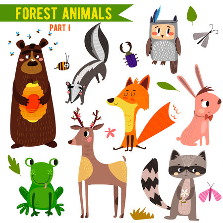 Set of Cute Woodland and Forest Animals.