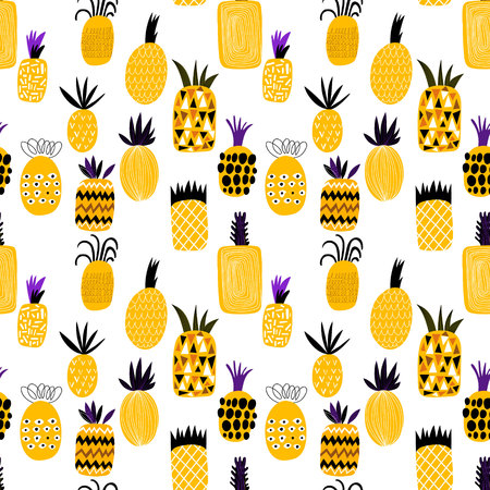 Illustration pour Summer pineapple fruit illustration background pattern. Seamless pattern can be used for wallpapers, pattern fills, web page backgrounds, surface textures - image libre de droit