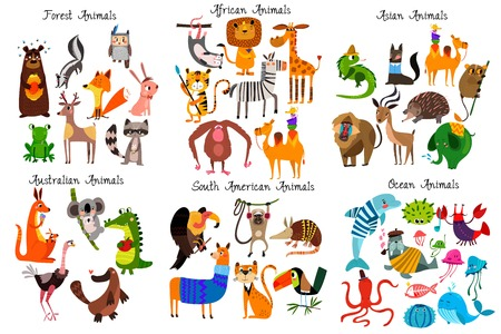 Illustration pour Big collection of cute cartoon animals from different continents: Forest,Australian, African ,South american animals,Ocean animals and Asian animals. Vector illustration isolated on white - image libre de droit