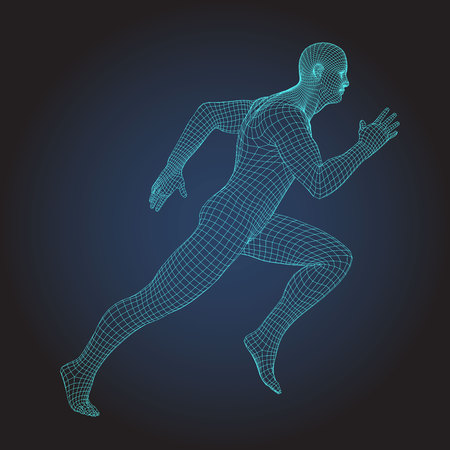 Ilustración de Wire frame human full body in virtual reality. Medical blue print scanned 3D model. Polygonal technology design. Sprinter Running figure - Imagen libre de derechos