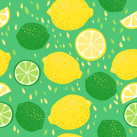 Ilustración de Seamless pattern with lemons and limes - Imagen libre de derechos