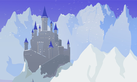 Illustration for Landscape With Castle And Mountaines With Snow - Royalty Free Image