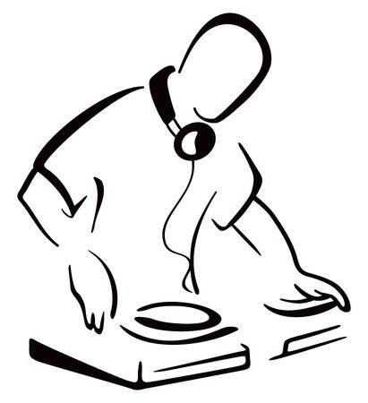 Illustration pour DJ behind console - image libre de droit