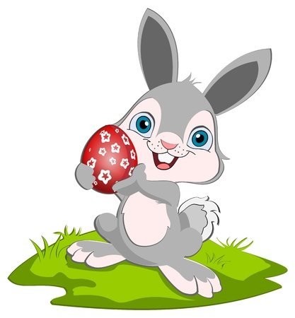Photo pour Easter Bunny holding o rad easter egg and smiling. - image libre de droit