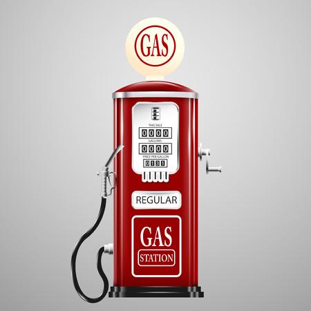 Illustration pour Red isolated retro gas pump. - image libre de droit