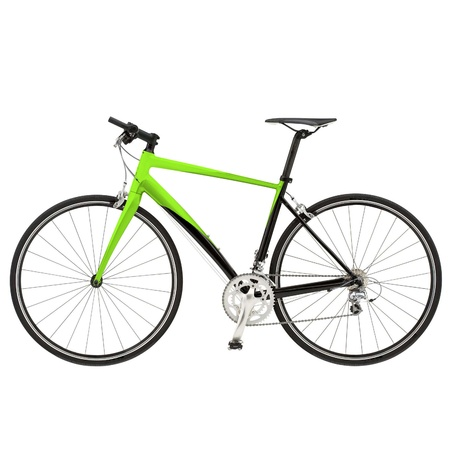 Green bike detail isolated on white background