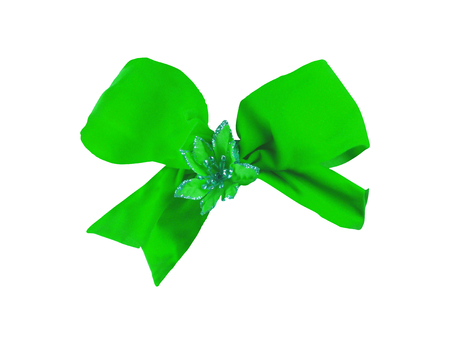 Photo for green ribbon bow isolated on white - Royalty Free Image