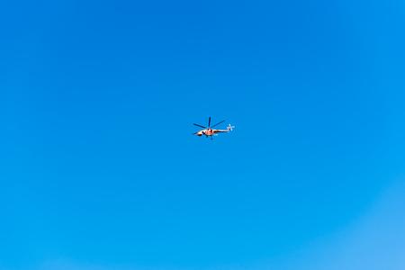 Foto de Helicopter flying in the blue sky in Istanbul,Turkey - Imagen libre de derechos
