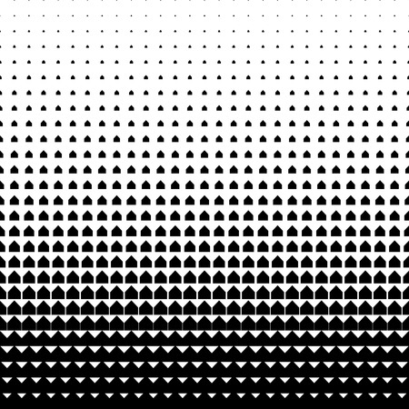 Illustration pour Vector geometric halftone background. Backdrop with arrow shapes gradually placed by size increasing. Minimalistic texture. - image libre de droit