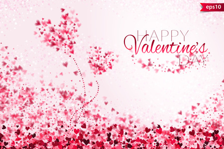 Illustration pour Pink hearts bokeh light Valentine's day background. Tender backdrop with gradually changing color hearts. - image libre de droit