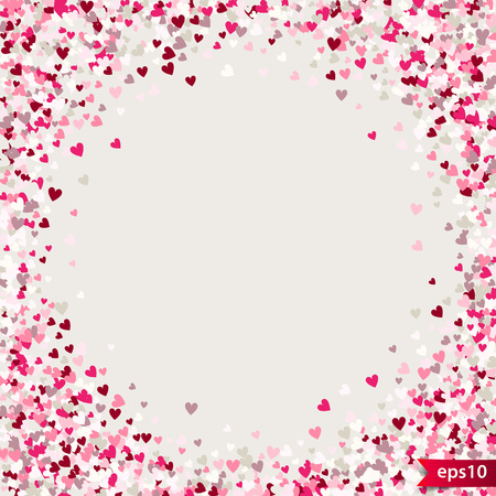 Illustration pour Stipple pattern for design. Colorful minimalist geometric pattern with randomly located small hearts. Red heart glitter background. Gradually changing density backdrop with red and pink hearts. Romantic texture. - image libre de droit