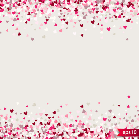 Illustration pour Stipple pattern for design. Colorful minimalistic geometric pattern with randomly located small hearts. Red heart glitter background. Gradually changing density backdrop with red and pink hearts. - image libre de droit