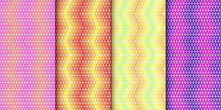 Illustration pour Colorful geometric seamless pattern set. Gradually changing colors. Vector minimalistic background collection with bright colors. - image libre de droit