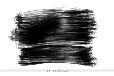 Illustration pour Vector hand drawn ink brush stain. Monochrome painted stroke. Painted by brush black stain. Monochrome artistic backdrop. One color grungy background. - image libre de droit