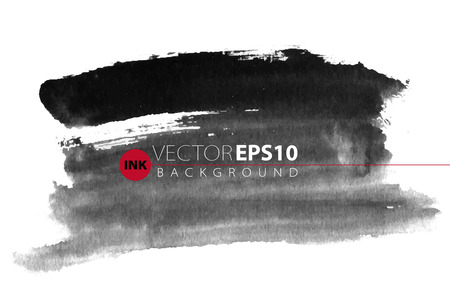 Illustration pour Vector hand drawn ink brush stain. Monochrome painted stroke. Painted by brush black stain. Greyscale artistic backdrop. One color grungy background. - image libre de droit