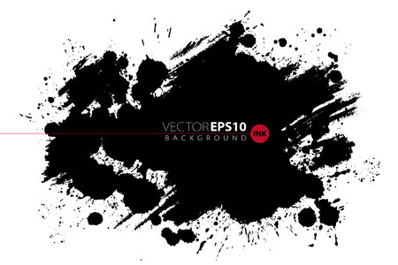 Illustration pour Vector hand drawn ink brush stain. Monochrome painted stroke. Painted by brush black stain. One color grungy background. Monochrome artistic backdrop. - image libre de droit