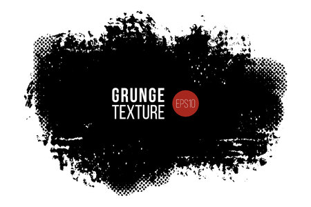 Illustration pour Vector hand drawn big brush stain with texture. Monochrome ink painted stroke. Painted by brush black stain. Monochrome artistic backdrop. One color grungy background. - image libre de droit