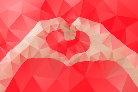 Illustration pour Female hands making a heart shape by abstract geometric triangle in low poly style. Vector illustration - image libre de droit