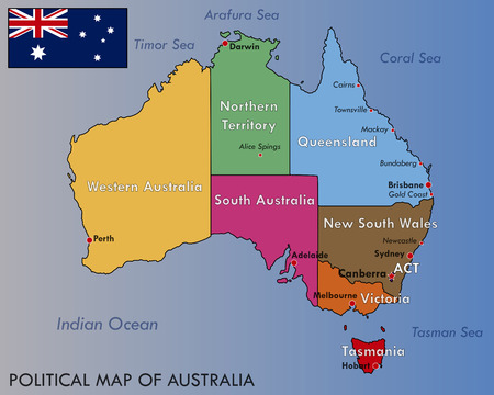 Illustration for Political Map of Australia - Royalty Free Image